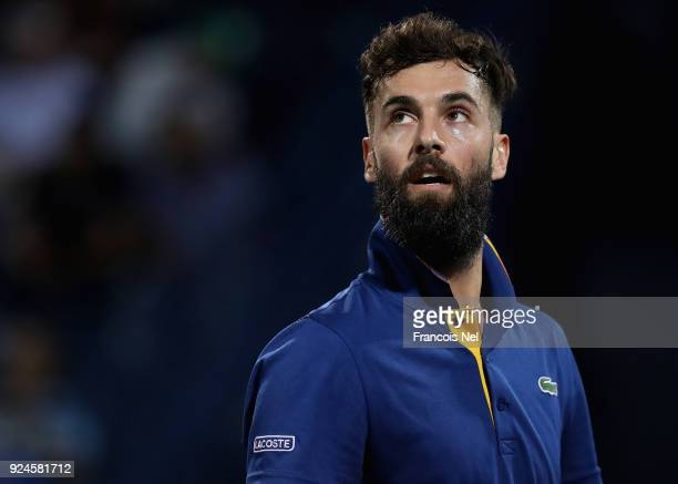 Benoit Paire of France looks on against Yoshihito Nishioka of Japan during day one of the ATP Dubai Duty Free Tennis Championships at the Dubai Duty...