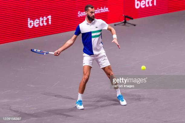 Benoit Paire of France looks on during a match against Dennis Novak at the third day of the Bett1Hulks Indoor tennis tournament at Lanxess Arena on...