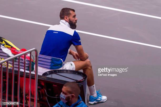 Benoit Paire of France looks on during day three of the Bett1Hulks Indoor tennis tournament between Benoit Paire and Dennis Novak at Lanxess Arena on...
