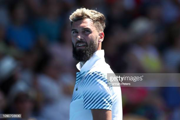 Benoit Paire of France looks on during the first round match against Cameron Norrie of Great Britain during the ASB Classic at the ASB Tennis Centre...