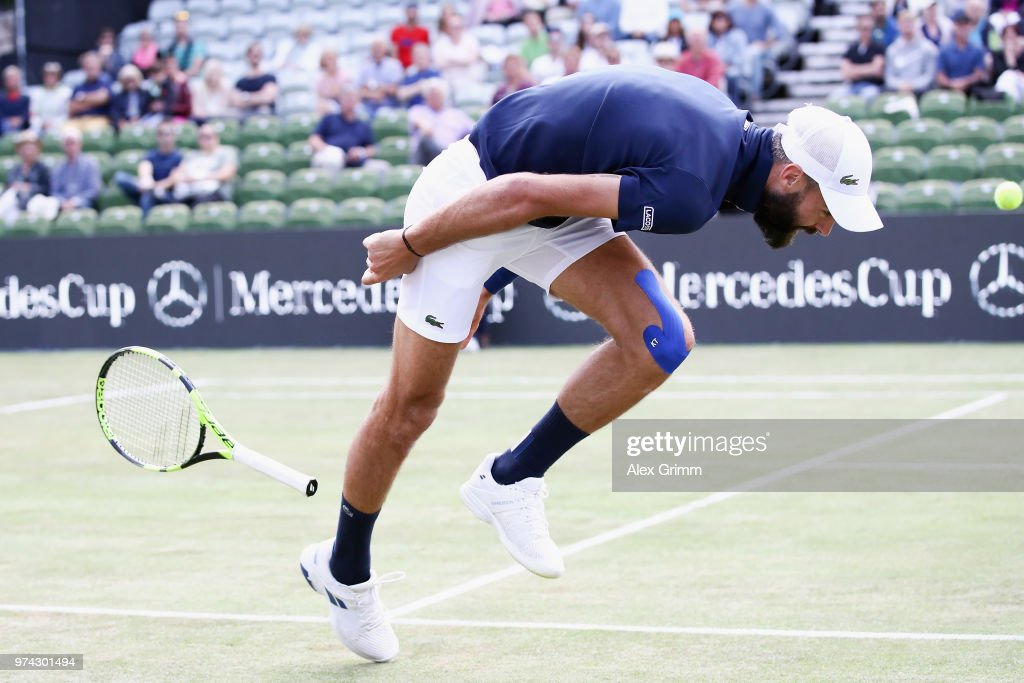 Benoit Paire of France loses his racket as he struggles during his match against Tomas Berdych of Czech Republic during day 4 of the Mercedes Cup at Tennisclub Weissenhof on June 14, 2018 in Stuttgart, Germany.