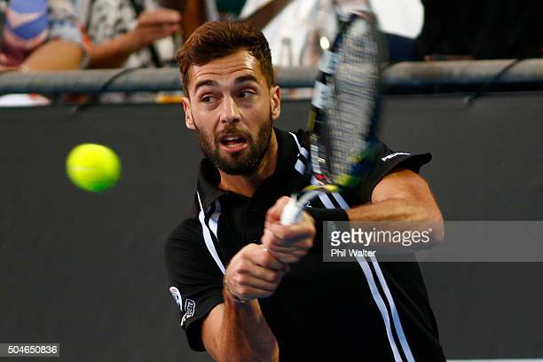 Benoit Paire of France plays a backhand against Michael Venus of New Zealand on Day 8 of the ASB Classic on January 12 2016 in Auckland New Zealand