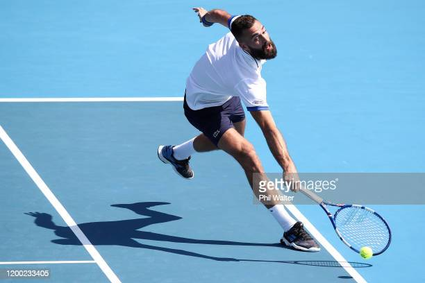 Benoit Paire of France plays a backhand against Ugo Humbert of France in the mens singles final during day eight of the 2020 ASB Classic at the ASB...