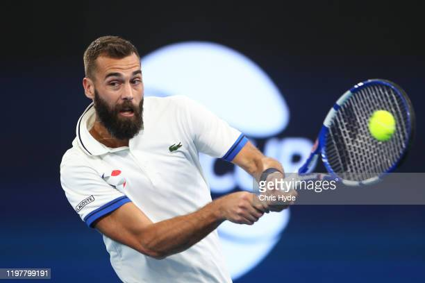 Benoit Paire of France plays a backhand in his match against Dusan Lajovic of Serbia during day four of the 2020 ATP Cup Group Stage at Pat Rafter...