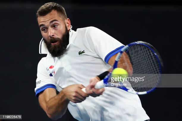 Benoit Paire of France plays a backhand in his match against Kevin Anderson of South Africa during day six of the 2020 ATP Cup Group Stage at Pat...
