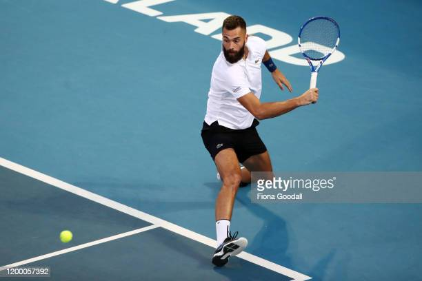 Benoit Paire of France plays a backhand shot against Hubert Hurkacz of Poland during the second semi final during day five of the 2020 ASB Classic at...