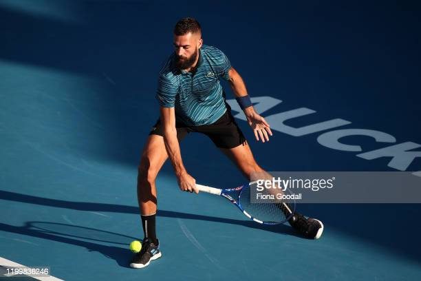 Benoit Paire of France plays a backhand shot against John Millman of Australia during day four of the 2020 ASB Classic at ASB Tennis Centre on...