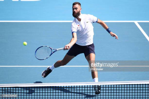 Benoit Paire of France plays a forehand against Ugo Humbert of France in the mens singles final during day eight of the 2020 ASB Classic at the ASB...
