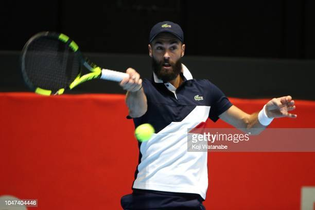 Benoit Paire of France plays a forehand in his first round match against Nicolas Jarry of Chile on day one of the Rakuten Open at Musashino Forest...