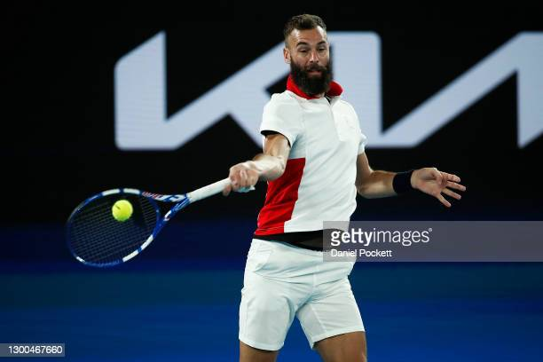 Benoit Paire of France plays a forehand in his group C singles match against Dominic Thiem of Austria during day four of the 2021 ATP Cup at Rod...