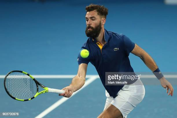 Benoit Paire of France plays a forehand in his quarter final match against Gilles Muller of Luxembourg during day five of the 2018 Sydney...