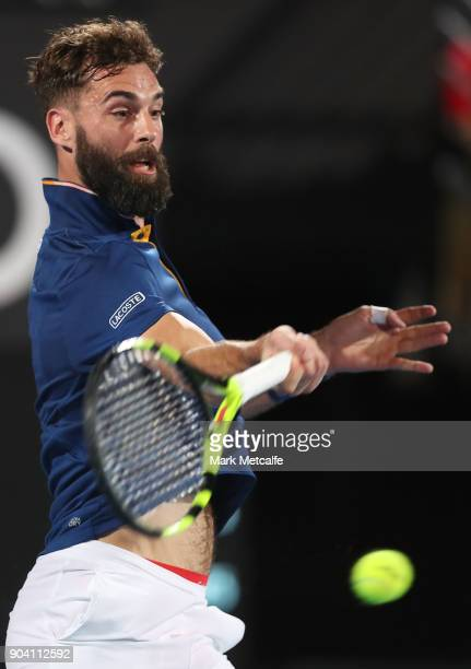 Benoit Paire of France plays a forehand in his semi final match against Alex de Minaur of Australia during day six of the 2018 Sydney International...