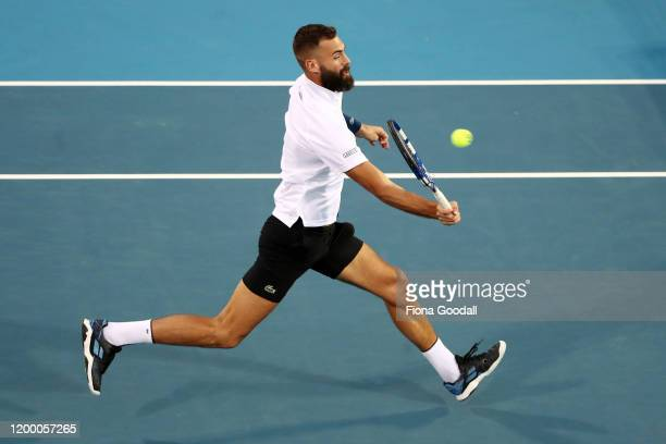 Benoit Paire of France plays a forehand shot against Hubert Hurkacz of Poland during the second semi final on day five of the 2020 ASB Classic at ASB...