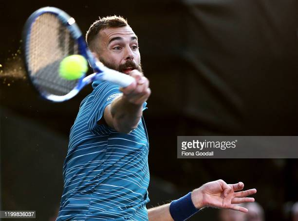 Benoit Paire of France plays a forehand shot against John Millman of Australia during day four of the 2020 ASB Classic at ASB Tennis Centre on...