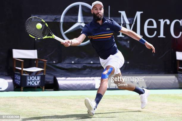 Benoit Paire of France plays a forehand to Tomas Berdych of Czech Republic during day 4 of the Mercedes Cup at Tennisclub Weissenhof on June 14 2018...