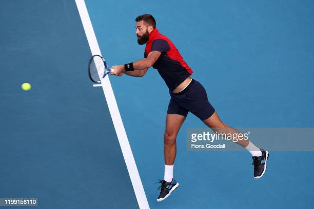 Benoit Paire of France plays a shot against Jannik Sinner of Italy during day one of the 2020 Men's ASB Classic at ASB Tennis Centre on January 13,...