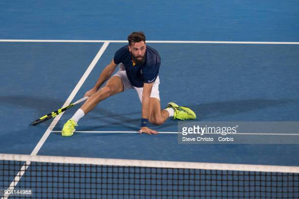 Benoit Paire of France plays a volley in his semi final match against Alex De Minaur of Australia during day six of the 2018 Sydney International at...