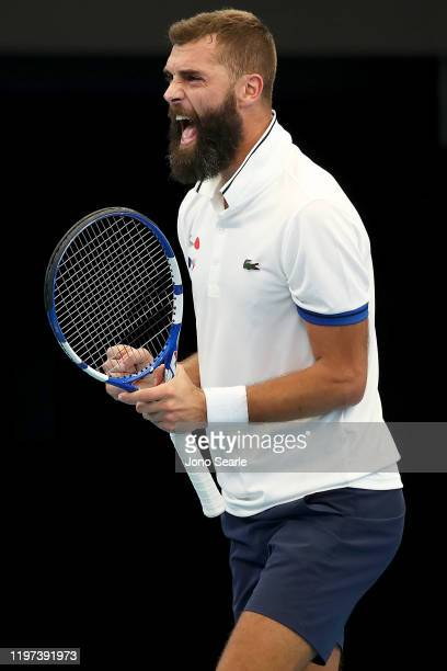 Benoit Paire of France rcelebrates winning the second set against Nicolas Jarry of Chile during day two of the 2020 ATP Cup Group Stage at Pat Rafter...