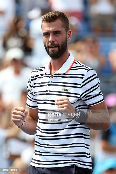 Benoit Paire of France reacts after defeating Kei Nishikori of Japan during their Men's Single First Round match on Day One of the 2015 US Open at...