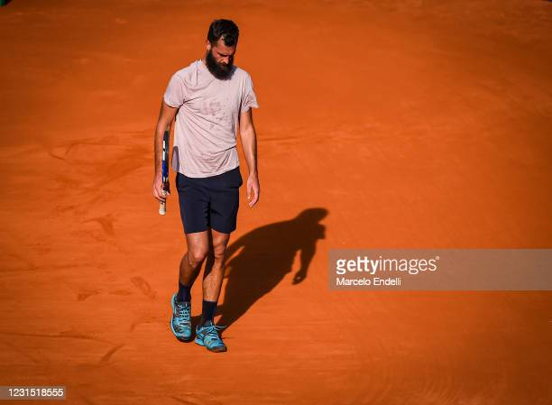 Benoit Paire of France reacts after losing a point during a match against Francisco Cerundolo of Argentina as part of day 4 of ATP Buenos Aires...