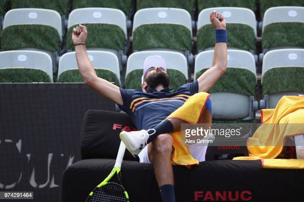 Benoit Paire of France reacts after playing a behind the back half-volley during his match against Tomas Berdych of Czech Republic during day 4 of...
