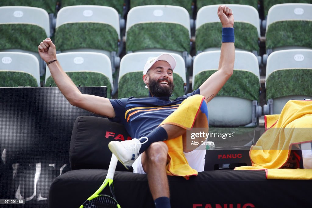 Benoit Paire of France reacts after playing a behind the back half-volley during his match against Tomas Berdych of Czech Republic during day 4 of the Mercedes Cup at Tennisclub Weissenhof on June 14, 2018 in Stuttgart, Germany.
