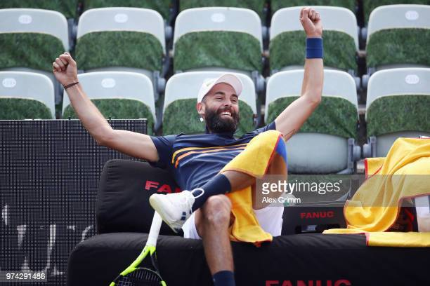 Benoit Paire of France reacts after playing a behind the back halfvolley during his match against Tomas Berdych of Czech Republic during day 4 of the...