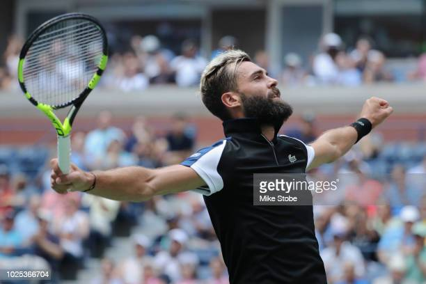 Benoit Paire of France reacts during his men's singles second round match against Roger Federer of Switzerland on Day Four of the 2018 US Open at the...