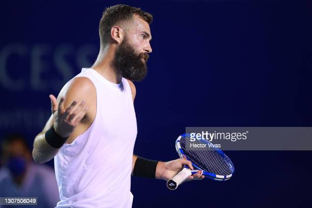 Benoit Paire of France reacts during the match against Stefanos Tsitsipas of Greece as part of the Telcel Mexican Open 2021 at Princess Mundo...