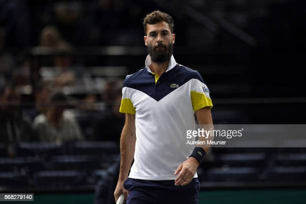 Benoit Paire of France reacts during the men's single against Richard Gasquet of France on the first round match of the Rolex Paris Masters at Palais...