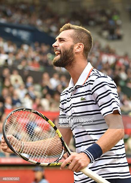 Benoit Paire of France reacts during the men's singles semi final match against Kei Nishikori of Japan on Day Six of the Rakuten Open 2015 at Ariake...