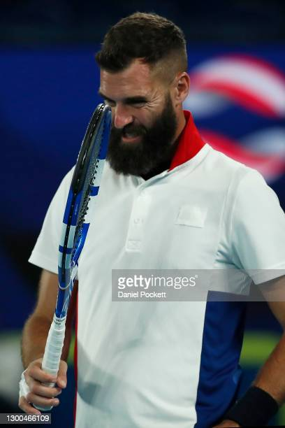 Benoit Paire of France reacts in his group C singles match against Dominic Thiem of Austria during day four of the 2021 ATP Cup at Rod Laver Arena on...