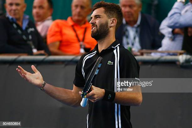 Benoit Paire of France reacts in his singles match against Michael Venus of New Zealand on Day 8 of the ASB Classic on January 12 2016 in Auckland...