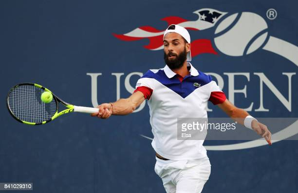 Benoit Paire of France returns a shot against Mischa Zverev of Germany during their second round Men's Singles match on Day Three of the 2017 US Open...