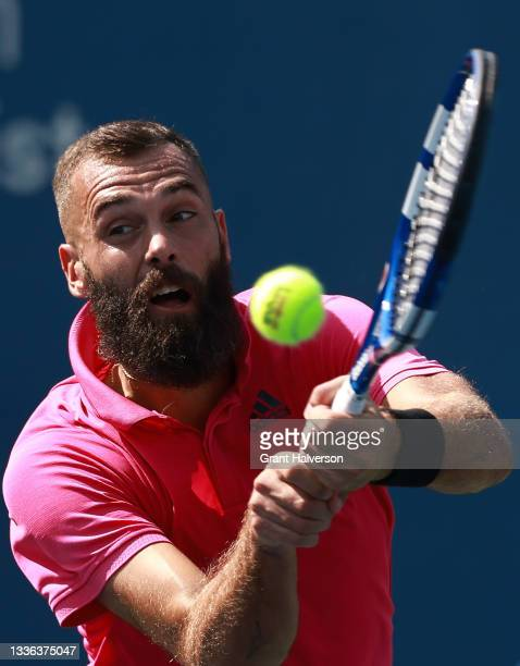 Benoit Paire of France returns a shot to Emil Ruusuvuori of Finland on Day 5 of the Winston-Salem Open at Wake Forest Tennis Complex on August 25,...