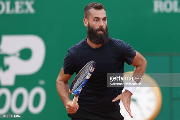 Benoit Paire of France runs during his 1st round match against Jordan Thompson of Australia on Day 2 of the Rolex Monte-Carlo Masters at Monte-Carlo...
