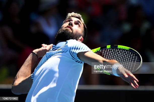 Benoit Paire of France serves during the first round match against Cameron Norrie of Great Britain during the ASB Classic at the ASB Tennis Centre on...