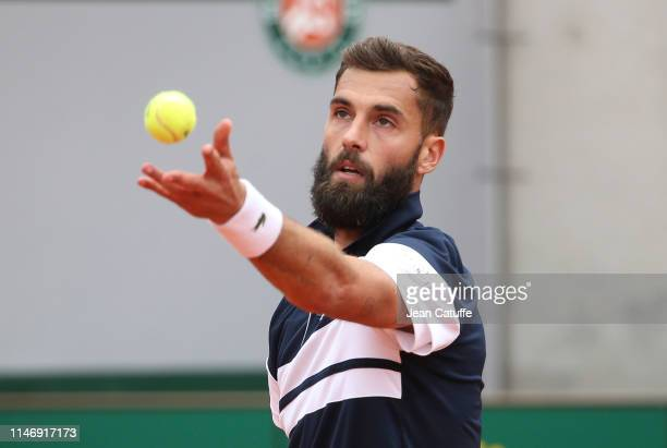 Benoit Paire of France serves in his mens singles second round match against PierreHugues Herbert of France during day 4 of the 2019 French Open at...