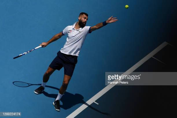 Benoit Paire of France serves in the Men's final singles match against Ugo Humbert of France at ASB Tennis Centre on January 18, 2020 in Auckland,...