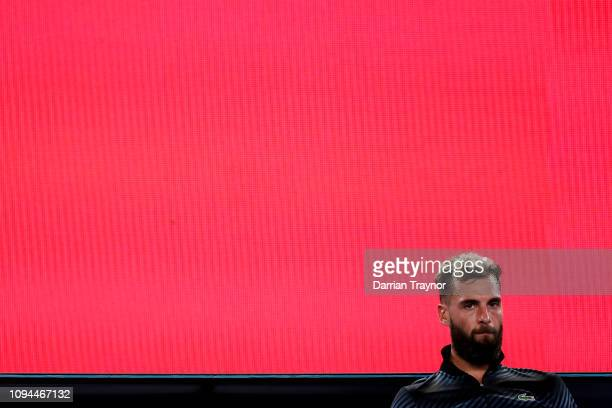 Benoit Paire of France shows his frustration in his match against Dominic Thiem of Austria during day two of the 2019 Australian Open at Melbourne...