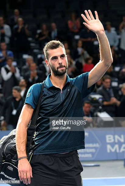 Benoit Paire of France thanks the fans after beating Gael Monfils of France during Day 1 of the BNP Paribas Masters held at AccorHotels Arena on...