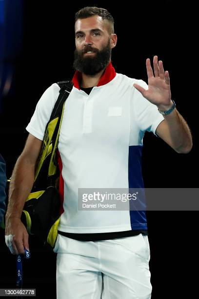Benoit Paire of France walks out for his group C singles match against Dominic Thiem of Austria during day four of the 2021 ATP Cup at Rod Laver...