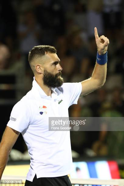 Benoit Paire of France wins against Hubert Hurkacz of Poland during the second semi final on day five of the 2020 ASB Classic at ASB Tennis Centre on...