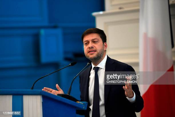 Benoit Payan, deputy mayor of Marseille, gestures during a press conference on September 24, 2020 in the southern French city, following the...