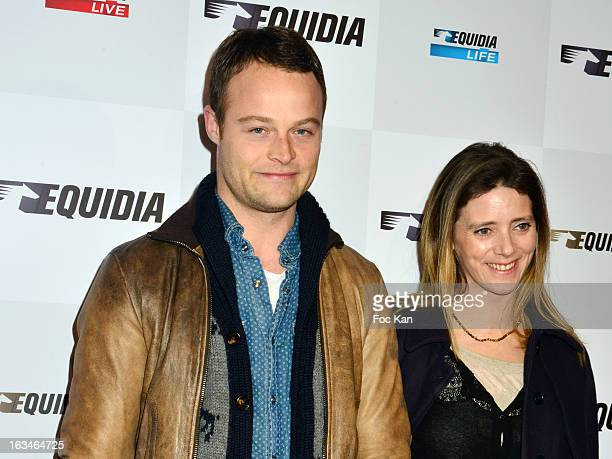 Benoit Petitjean and his girl friend attend the 'Equidia TV Jappeloup' Screening Cocktail at the Publicis Champs Elysees Cinema on March 5 2013 in...