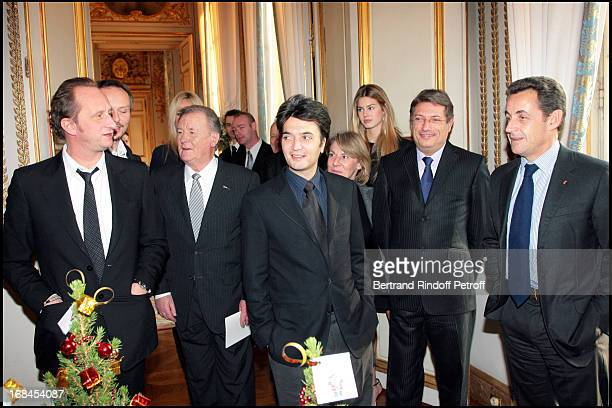Benoit Poelvoorde Albert Uderzo Thomas Langmann Jacques Ktorza and Nicolas Sarkozy at No Tabloids Please Do Not Credit Angeli Just Bertrand Rindoff...