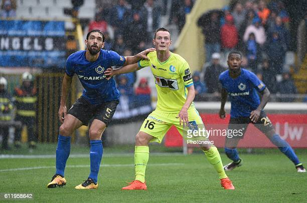 Benoit Poulain defender of Club Brugge and Rob Schoofs midfielder of KAA Gent pictured during Jupiler Pro League match between Club Brugge KV and KAA...
