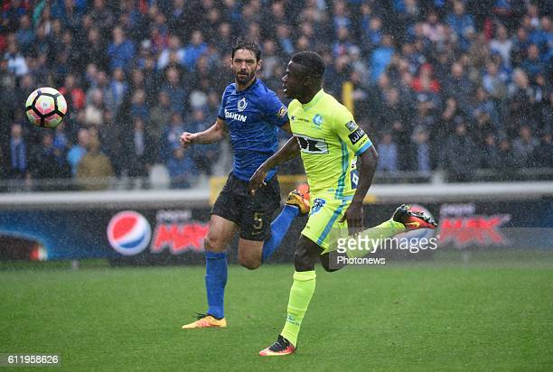 Benoit Poulain defender of Club Brugge and Simon Moses forward of KAA Gent pictured during Jupiler Pro League match between Club Brugge KV and KAA...