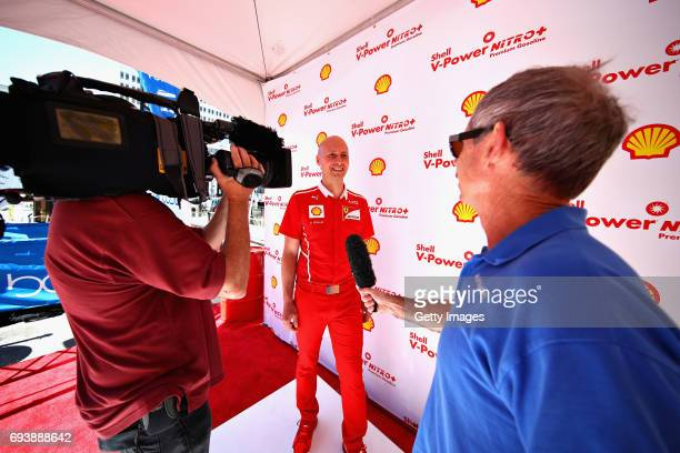 Benoit Poulet of Shell talks with the media at a Shell event during previews for the F1 Grand Prix of Canada at Circuit Gilles Villeneuve on June 8...