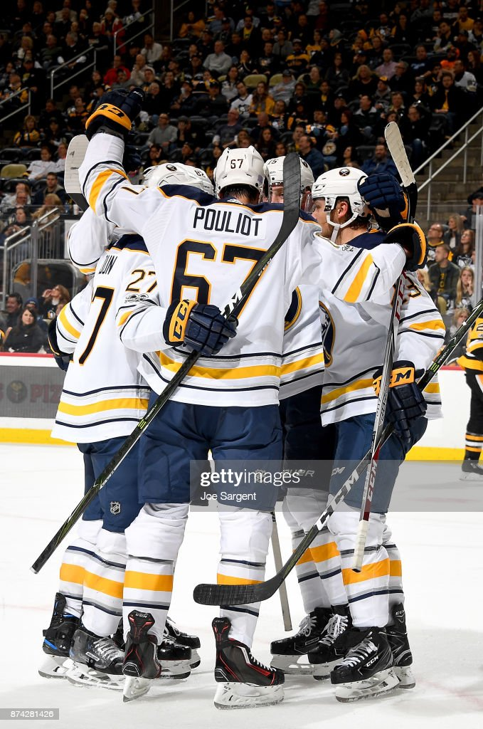 Benoit Pouliot #67 of the Buffalo Sabres celebrates his second period goal against the Pittsburgh Penguins at PPG Paints Arena on November 14, 2017 in Pittsburgh, Pennsylvania.